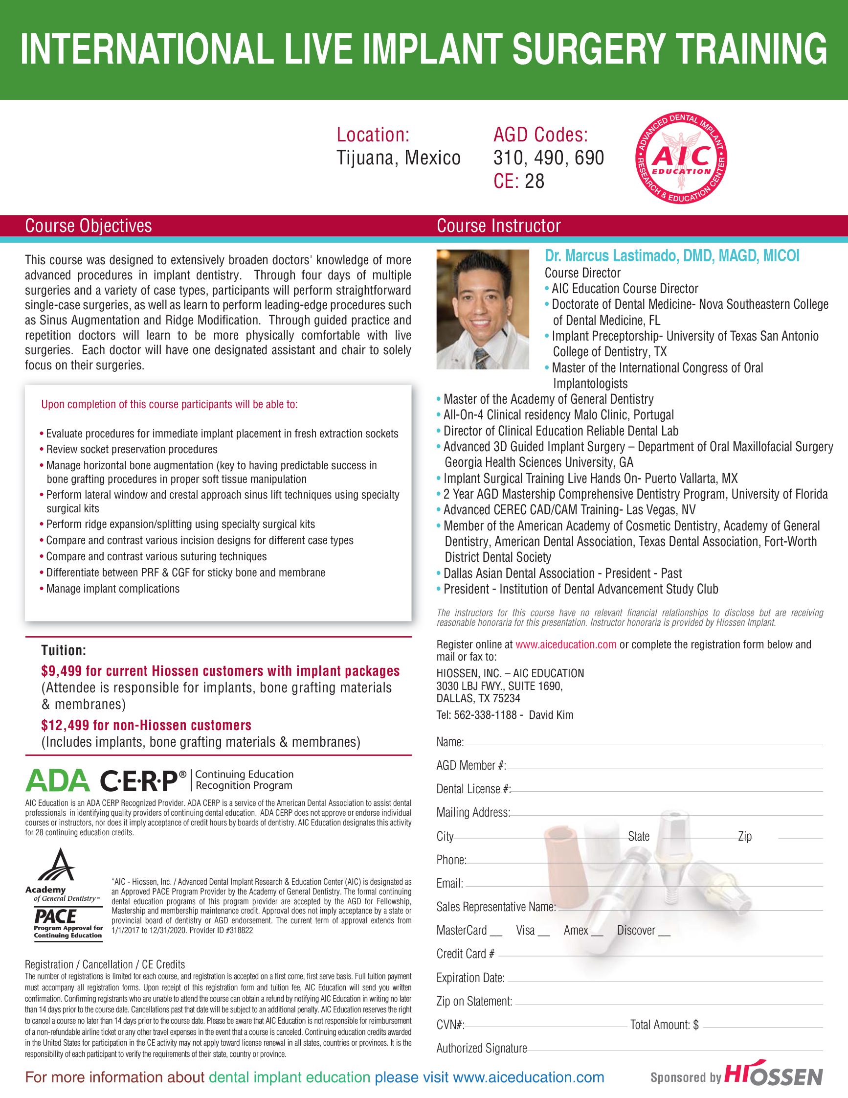 advanced international live patient implant training in Mexico 4 days