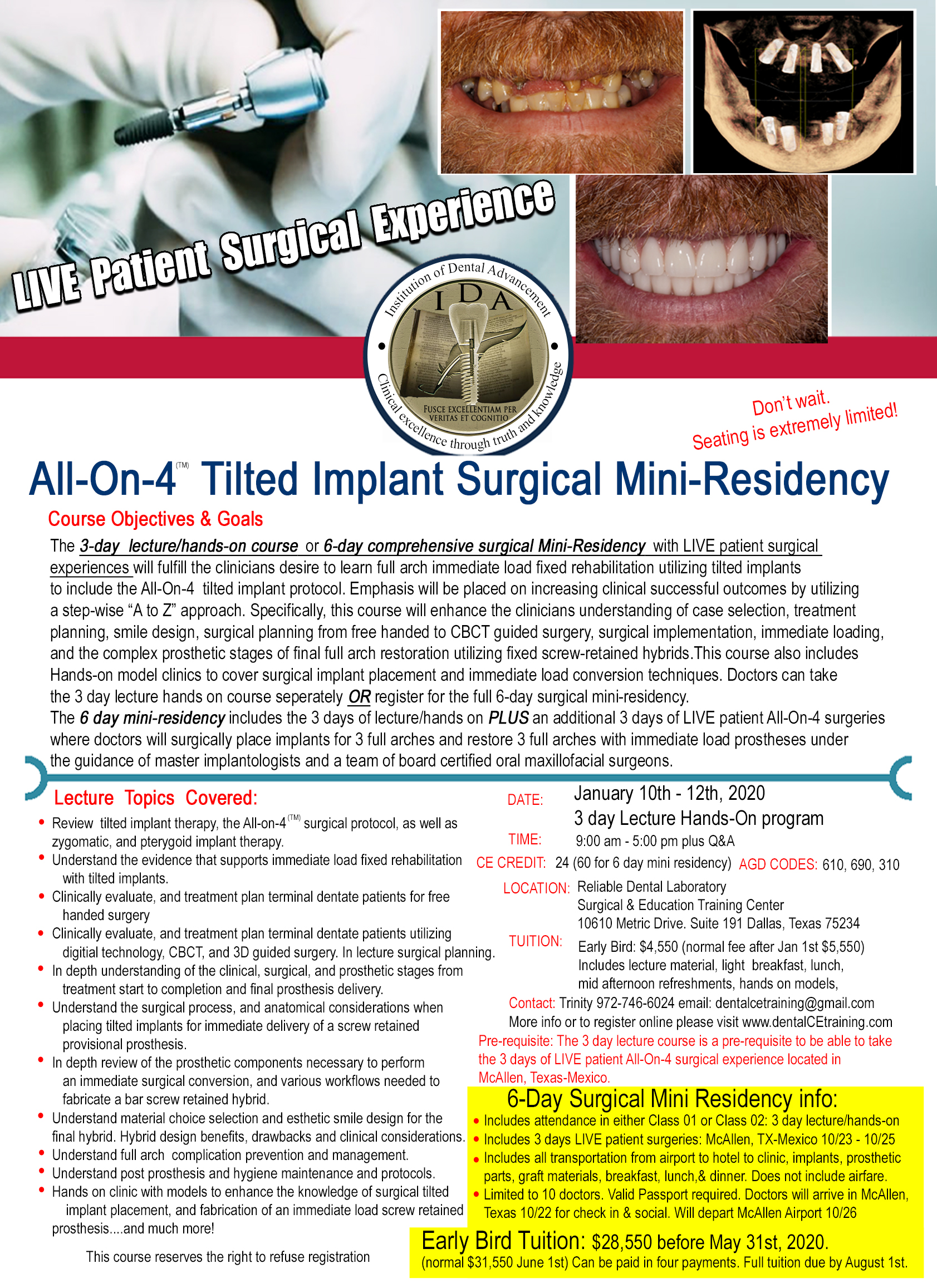 All on 4 dental implant surgical training course