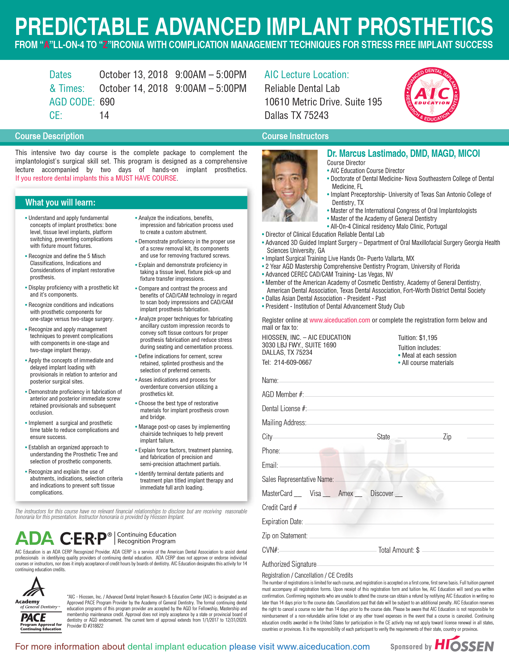 implant prosthetics course for dentists